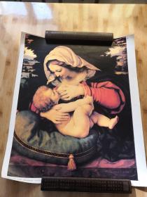 靠着绿色坐垫的圣母   馆藏油画精印海报装饰挂画
