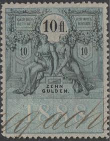 奥地利古典时期印花税票ZD,1870年穿裙子的优雅女神和花环
