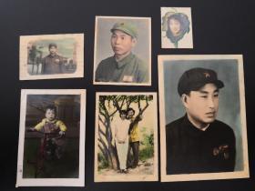 早期解放军及群众手工上色照片一组合售,最大一张尺寸10*6戴军功章