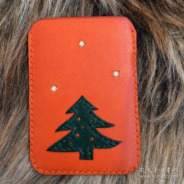纯手工原创真皮卡包 下雪的圣诞节主题 日本栎木AA级植鞣革