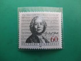 【联邦德国全新邮票】作曲家格鲁克逝世200周年(1枚全)