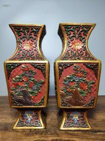 旧藏清代剔红漆器手工彩绘《花开富贵》花瓶摆件一对112670