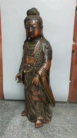 旧藏紫铜鎏真金卡银丝自在观音