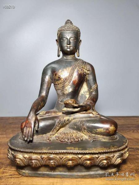 老铜胎开光撒朱砂佛像 释迦牟尼佛一尊  恭请供奉佛像摆件112672