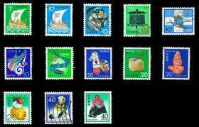 日邮·日本邮票信销·樱花目录编号 N27-N39  1972-1983年 第二轮贺年生肖邮票 信销13全(72年为2枚,其余每年1枚)