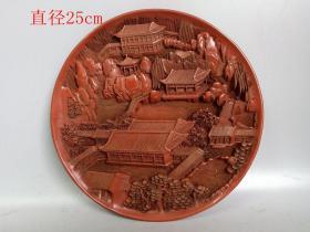 清代传世雕工不错的老漆器山水盘