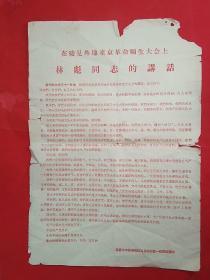 在接见外地来京革命师生大会上 林彪同志的讲话
