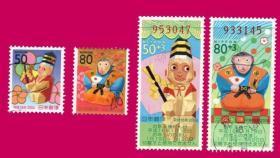日邮·日本邮票信销·樱花目录编号 N99-N102 2004年 第四轮贺年生肖邮票-猴年 信销4全(小票2枚,长条票2枚)