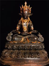 铜鎏金手工镶嵌宝石一尊长寿佛