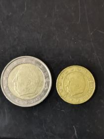 硬币 比利时 2欧和10分欧元双金属镶嵌币 阿尔贝二世