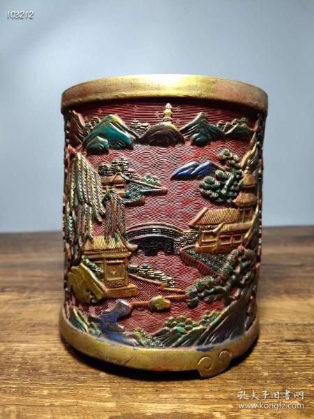 剔红漆器手工彩绘《蓬莱仙境》书房笔筒摆件112669