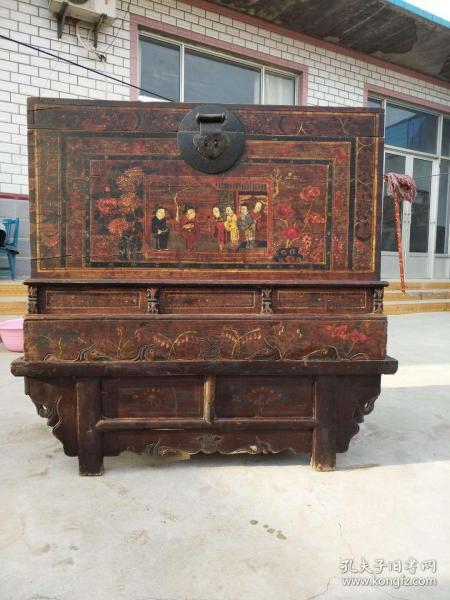 清朝木制人物画柜