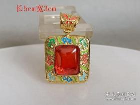 乡下收的镶嵌红宝石挂件.001