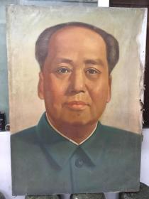 油画毛主席与周恩来总理两张,尺寸140*110公分,两幅