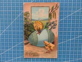 1910年4月6日美国(小鸡)节日问候祝福--实寄明信片贴邮票1枚(1)