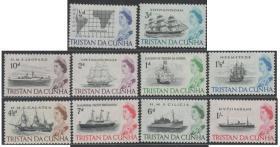 英联邦邮票C,特里斯坦-达库尼亚群岛,帆船、轮船、地图,雕刻版