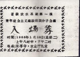 1966年油印入场券:《省级农水系统第一届青年社会主义建设积极分子会议入场券》