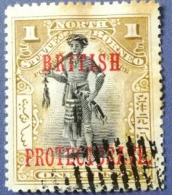 英联邦邮票C,英属北婆罗洲1894年加盖,原住民武士,服饰