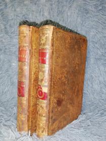 1797年 CHRYSAL OR THE ADVENTURES OF A GUINEA   2本合售   含精美插图  全皮装帧  15X9.5CM