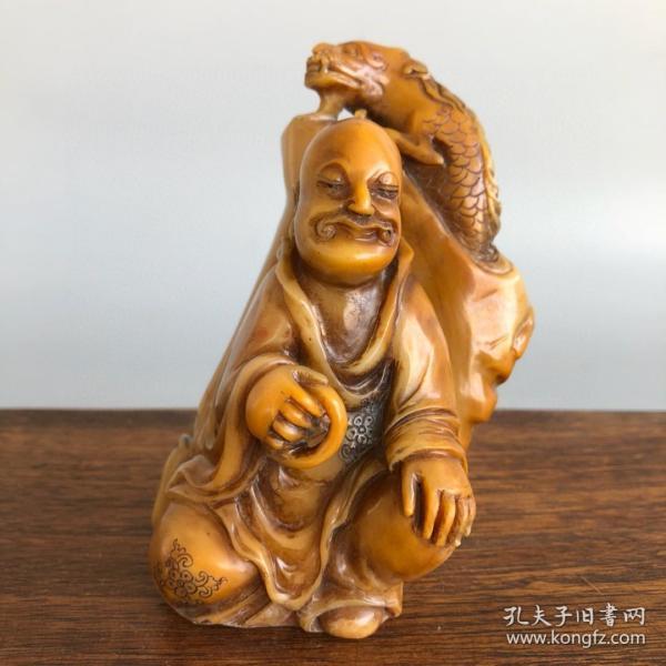 珍藏百年一缶翁老缶吴昌硕作寿山田黄冻石降龙罗汉印章摆件