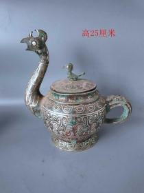 战汉时期错银瑞兽壶