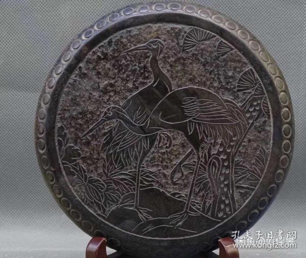 山西青石《松鹤延年》面直径12.5cm,厚2.5cm雕工精细美观大方