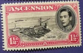 英联邦邮票C,阿森松地方自然风景,大海、港口等,雕刻版