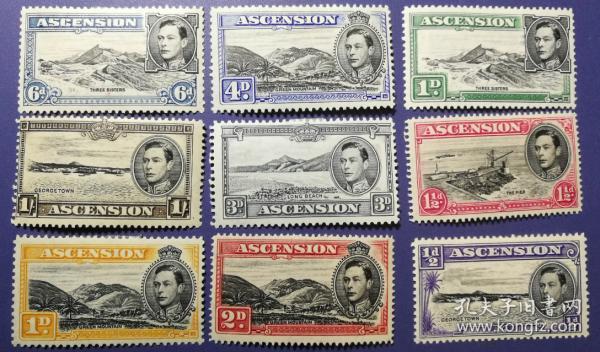 英联邦邮票C,阿森松地方自然风景,大海、海岛、港口等,雕刻版