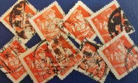 中国邮票,普通邮票8分,炼钢工人,信销,一枚价,邮戳随机
