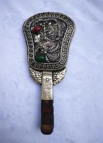 古玩杂项 铜鎏银 镶嵌绿松石 红木把 梳妆镜 铜镜 光绪三年