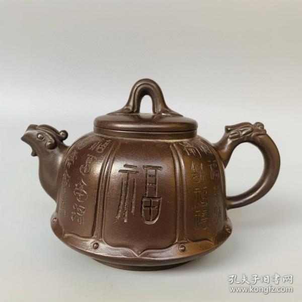 宜兴紫砂原矿紫砂寿龟壶T43042