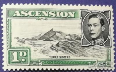 英联邦邮票C,阿森松地方自然风景,山脉,精美雕刻版