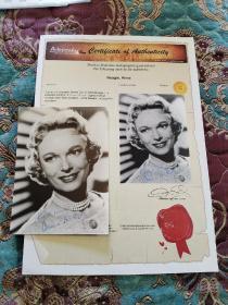 【签名照】已故著名演员 安娜·尼格尔(1904-1986)签名题词 黑白照片 带保真证书,其主要作品有《飞女正传》、《风流皇帝》、《枯木逢春》等