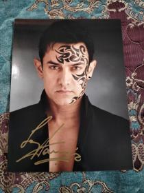 【签名照】印度国宝级演员 阿米尔汗 签名照,十分少见,孔网唯一