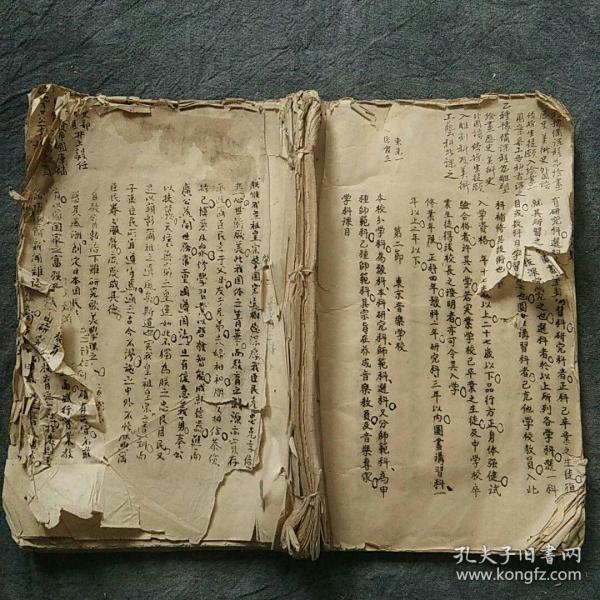 清代晚期废科举学习日本资料!!翻译日本油印本《学校制度》超大开本,一厚册,带大量批注! 后有补图