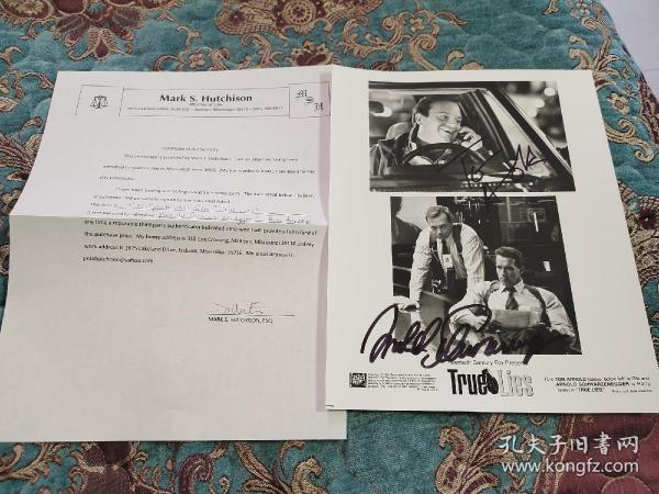 【签名照】施瓦辛格 和 汤姆·阿诺德 合签 电影 《真实的谎言》剧照,带保真证书
