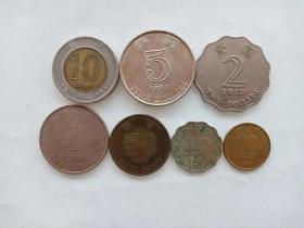 香港钱币  7枚硬币 旧品 紫荆花图案