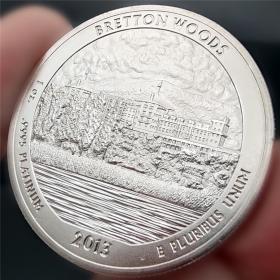 美国百万亿纪念硬币2013鹰洋外币布雷顿森林纪念币自由女神镀银币