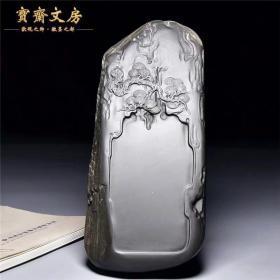 中国歙砚/苍松万古/名师手工老坑眉纹罗纹原石精品歙砚文房兼端砚