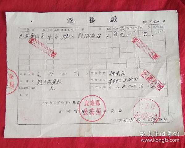 1958年迁移证