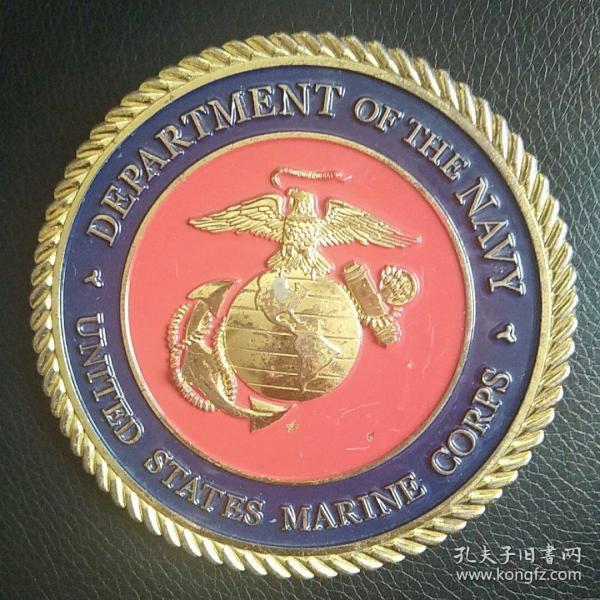 美国海军铜章  铜镀金 直径100毫米 精美厚重