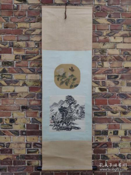 近代著名工笔花鸟画家彭福来绘国画立轴,一轴双画,上为绢本花鸟、下图为山水,品相完好,保手绘真迹!