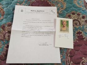"""【签名照】已故好莱坞传奇歌星 第50届格莱美终生成就奖 """"雀斑皇后""""桃丽丝·戴(1922—2019)签名照,带保真证书,其电影作品有《擒凶记》《枕边细语》等"""