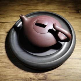 精品歙砚罗纹圆素砚茶托壶垫水浪纹细眉纹砚台文房四宝8寸