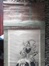 """日本石板印刷卷轴画圆山应举(眼镜绘)名作""""七福神"""""""