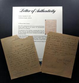 """""""文学与音乐的碰撞"""" 罗曼罗兰致女钢琴家尤拉.菊勒关于认可对方才华,并承诺给与帮助和推荐的亲笔信  由三大签名鉴定公司之一PSA/DNA提供鉴定"""