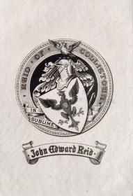 """英国艺术家""""THOMAS MORING""""铜版徽章藏书票  票主: JOHN EDWARD REID 1901"""