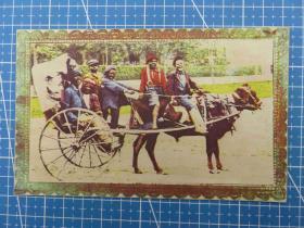 {会山书院}29#1910年美国(乘坐马车)厚纸、问候祝福--手账、收藏专用--空白明信片