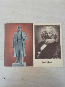 建国初期新华书店华东总分店赠 领袖像图片的图书目录 画片两张 见图