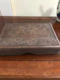 Z-0036古名砚 老端砚老砚台 大砚台 方形淌池砚 砚石尺寸22.7*14*2厘米,带雕花砚箱 砚石重1.5公斤